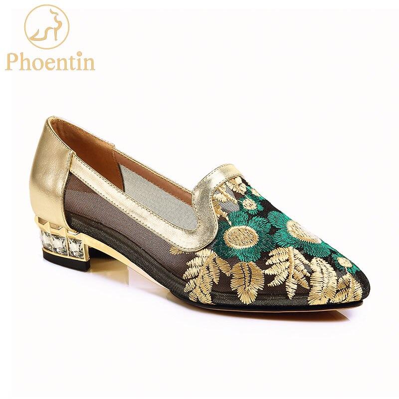 Phoentin shose femmes broder fleur bas talons carrés avec cristal dentelle maille or chaussures 2019 chaussures pour dames confortables FT423