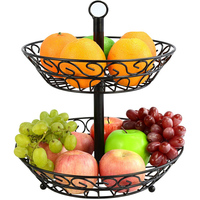 Double Layered Fruit basket Storage Metal Basket Place Fruit Bread Removable Fruit Tray Iron Household fruit container