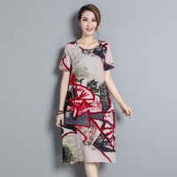 2017 Hot Fashion Vintage Womens Dresses Chinese Style Loose Type Summer O Neck Woman Dress M