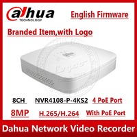 Dahua NVR NVR4108 P 4kS2 8CH NVR 8MP Smart 1U 4PoE 4K&H.265 Lite Network Video Recorder Full HD 1080P Recorder With 1SATA