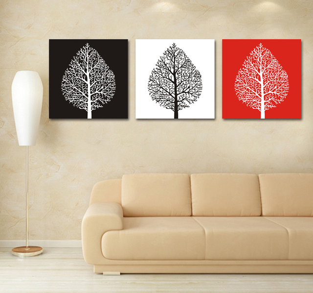 Black white red tree canvas painting 3 piece modern abstract canvas wall art custom canvas prints
