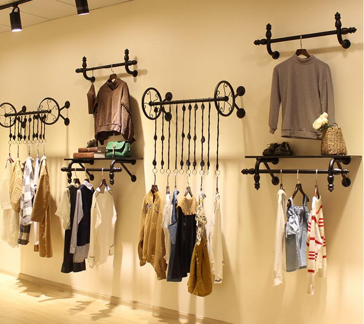 Clothes hangers for men and womens clothing. Display rack. Hang on wall. Display shelves1103