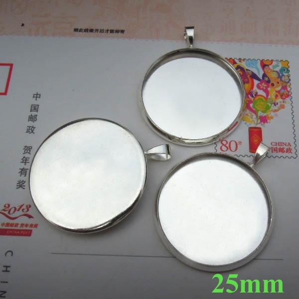 Заготовки кабошоны основания кулона изогнутый круглый ободок с дужка установки материалы для рукоделия DIY посеребренная латунь - Цвет: 25mm inner bezel siz