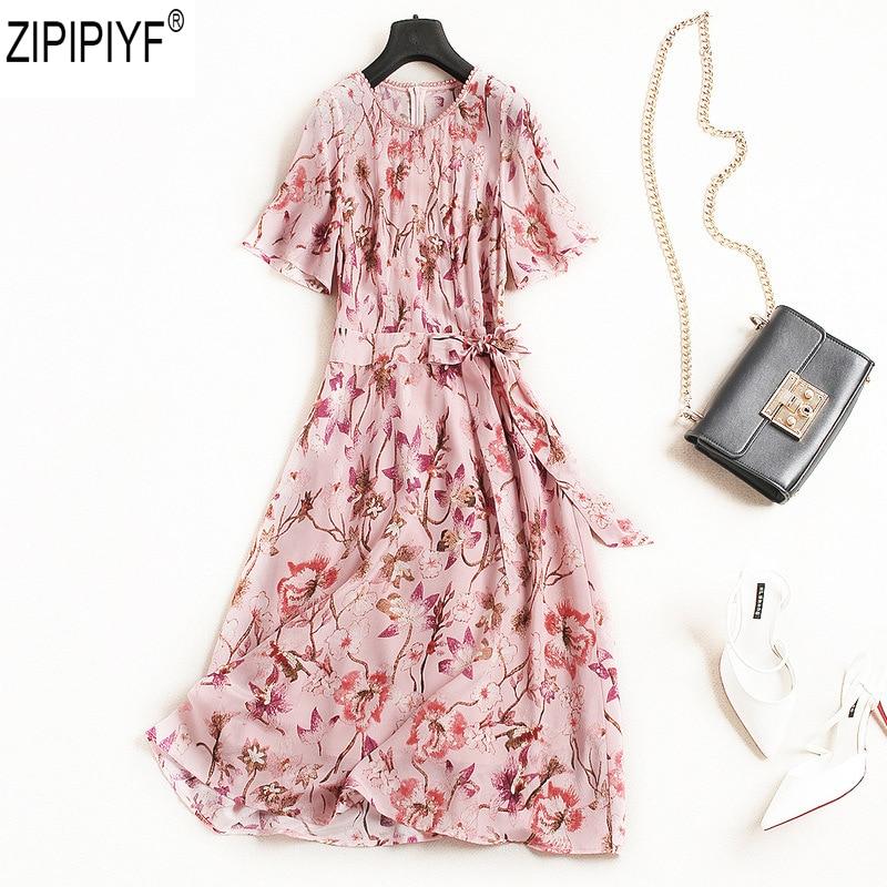 2018 New Summer Women Fashion O-Neck Beading Pearls Short Sleeve Print A-Line dress Elegant High Waist Ankle-Length Dress C383 women s elegant cut out neck bow waist a line dress