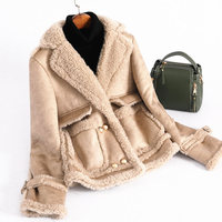 2018 New Arrival Real Wool Shearling Jacket Women Long Sleeve Real Fur Coat with Faux Leather Winter rf0226