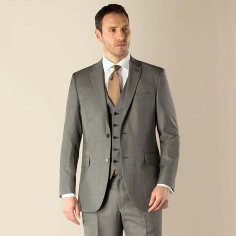 England Style Tailor Made Grey Business Men Suits Terno Wedding Prom Suits For Men Custom Made Tuxedos (Jacket+Pant+Vest+Tie)