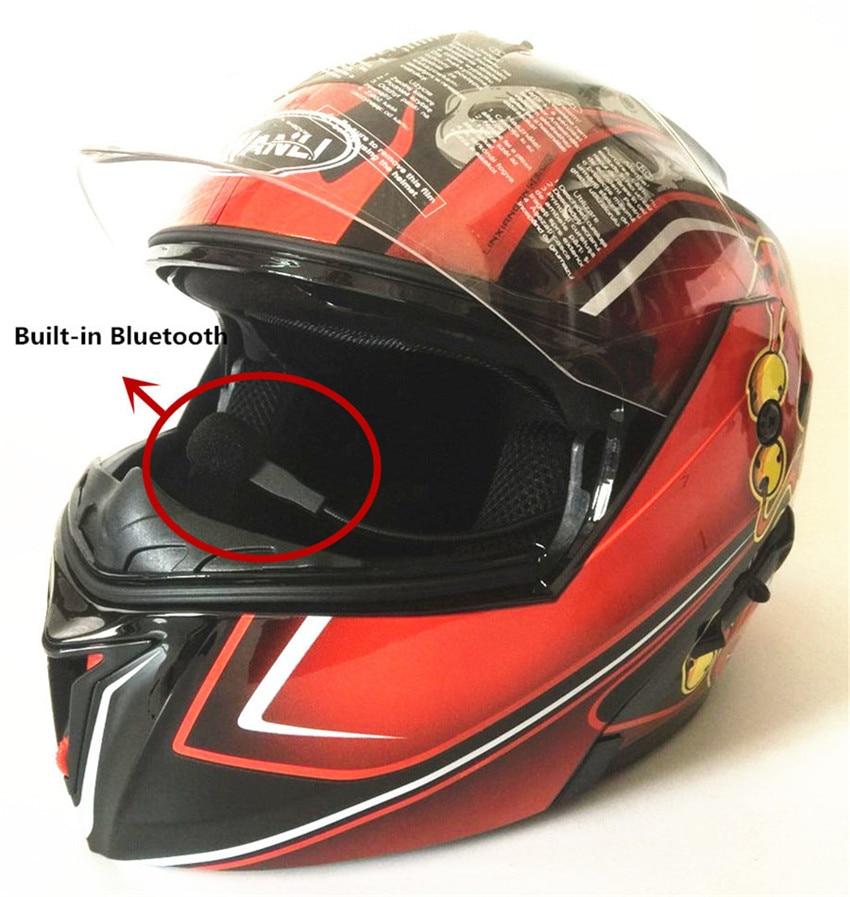 Bluetooth Motorcycle Helmets Speakers Integrated Modular Flip up Dual Visors Full Face Built-in Bluetooth Mp3 Intercom headset
