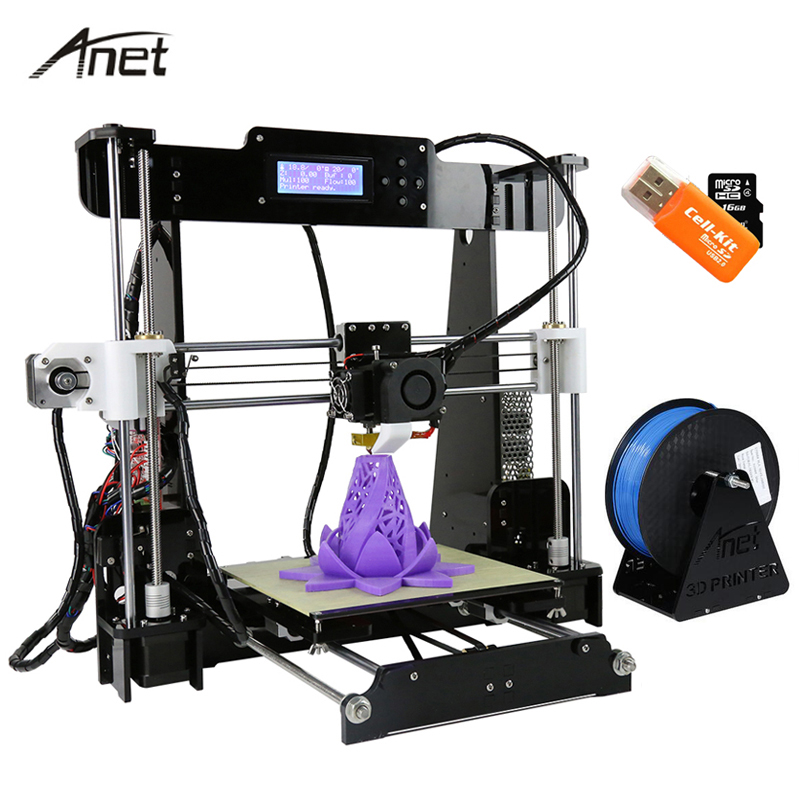 Anet A8 Impresora Auto Leveling / Қалыпты I3 Imprimante 3D DIY жиынтығы Aluminum Hotbed Сыйлық 8G SD Card 10M PLA Filament 3D Printer