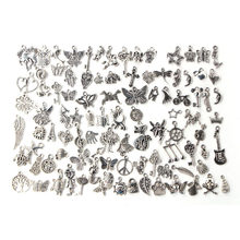 100pcs/lot Mixed Antique Silver Color European Bracelets Charm Pendants Fashion Jewelry Making Findings DIY Charms Handmade(China)