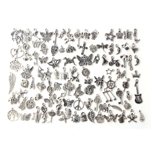 100pcs/lot Mixed Antique Silver Color European Bracelets Charm Pendants Fashion Jewelry Making Findings DIY Charms Handmade