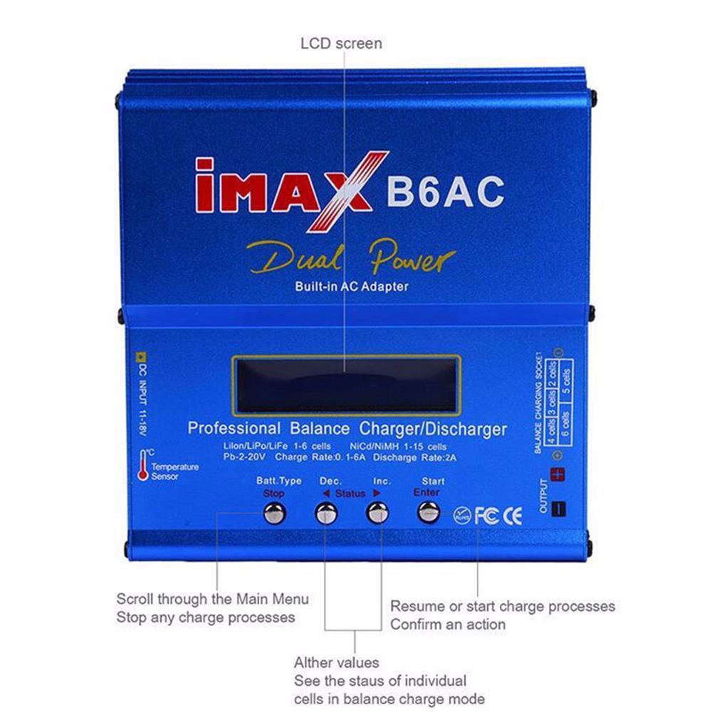 IMAX B6AC Digital AC 80W Lipo NiMH Nicd Lithium Battery Balance Charger Discharger With LCD Screen Power Supply EU Plug RC B6