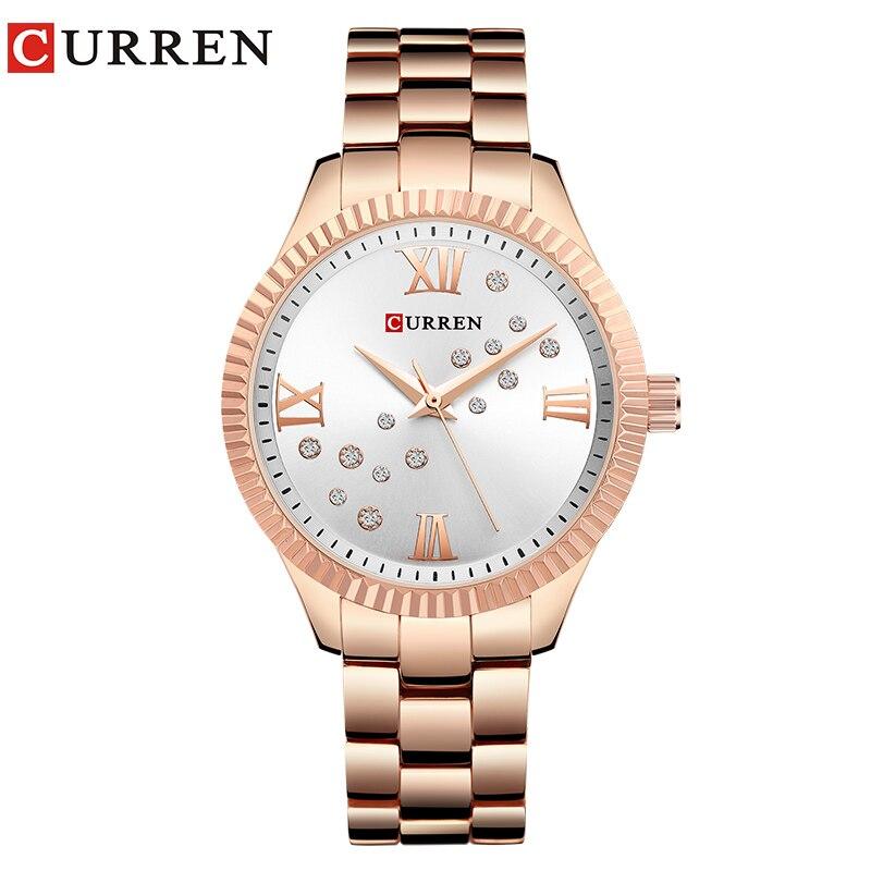100% QualitäT Curren New Fashion Uhr Frauen Strass Quarz Armbanduhr Damen Kleid Weibliche Uhr Relogio Feminino Rose Gold Reloj Mujer Zur Verbesserung Der Durchblutung