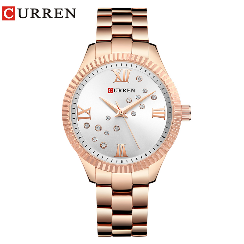 CURREN New Fashion Watch Women's Rhinestone Quartz Wristwatch Ladies Dress Female Clock Relogio Feminino Rose Gold Reloj Mujer
