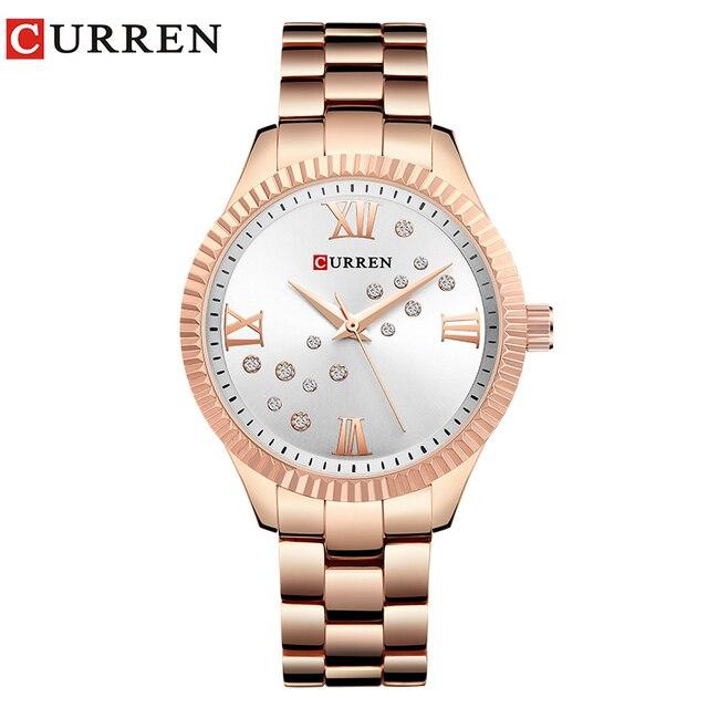 1d9bfdb5f97 CURREN Novo Relógio de Forma das Mulheres Strass relógio de Pulso de Quartzo  Senhoras Vestido Relógio Feminino reloj mujer relogio feminino em Ouro Rosa