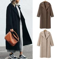2018 NEW Winter Coat Women Wide Lapel Belt Pocket Wool Blend Coat Oversize Long Red Trench Coat Outwear Wool Coat With Belt S XL