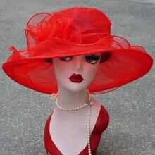 1 шт. женские шляпы из органзы с широкими полями в стиле Кентукки Дерби Для свадебной церкви