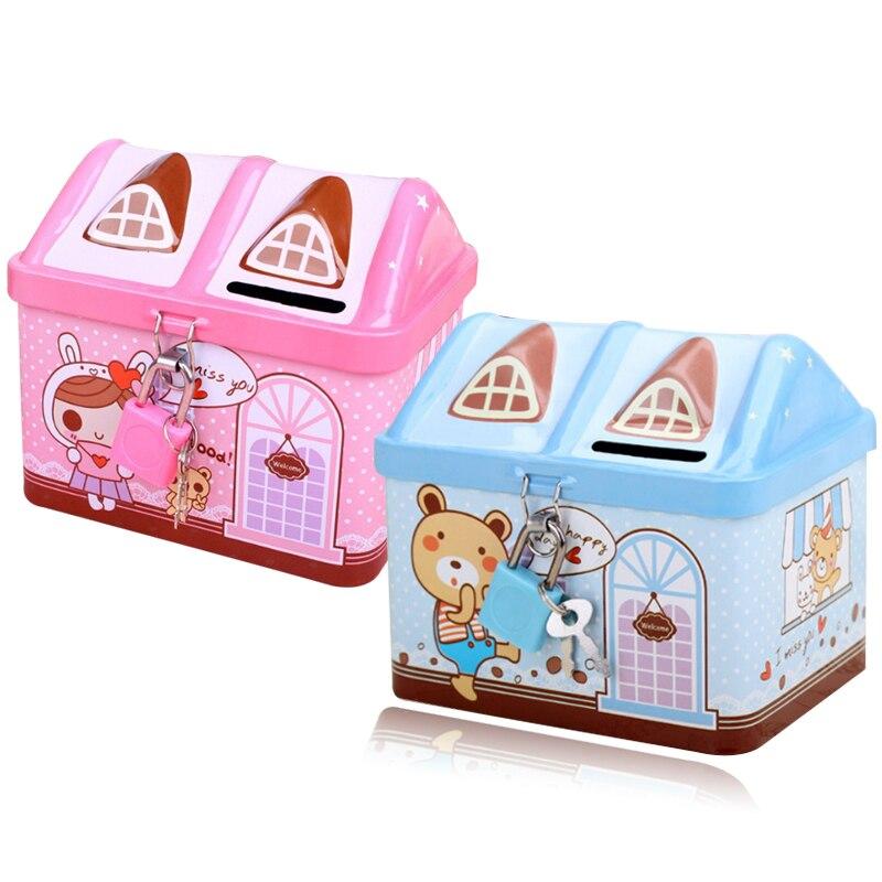Creative house shape metal piggy bank coin storage box child safety bank with key lock box children Christmas gift money box