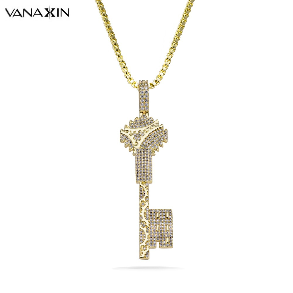 VANAXIN Key Necklaces & Pendants Statement Gold Necklace For Women High Quality Brass Jewelry CZ Stone Pendants Retro Party Gift