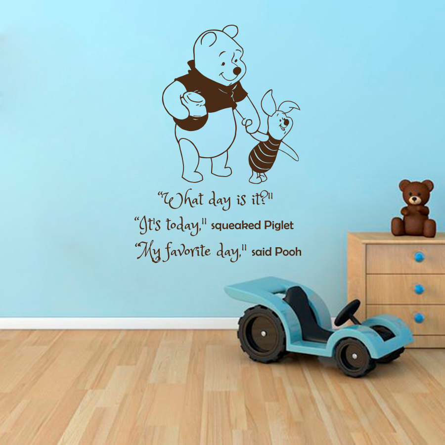 Cartoon Winnie the Pooh Book Quotes Wall Sticker What day is it saying wall sticker Kids Nursery Room Bedroom Wall Mural M 74 in Wall Stickers from Home Garden