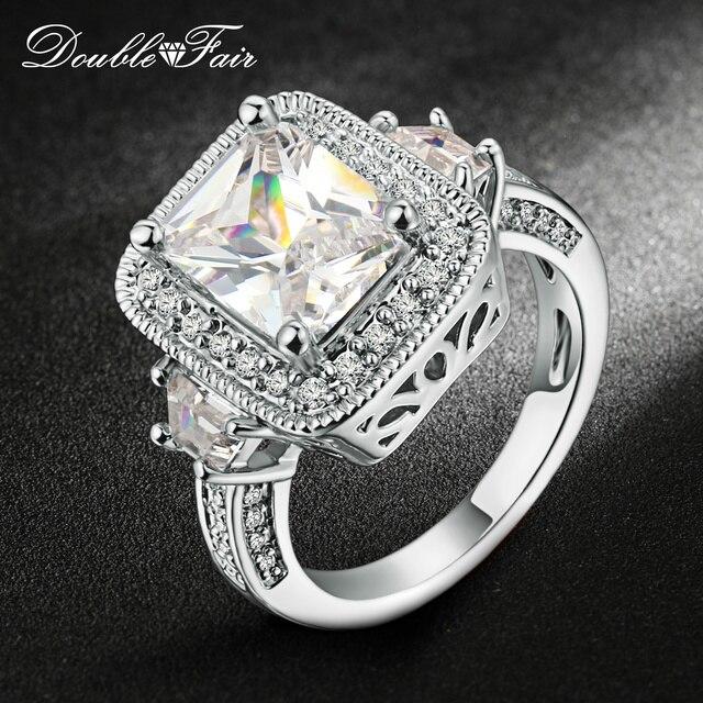 80bed6634342 Doble justo CZ cuadrado de piedra anillo de compromiso de plata De Oro Color  de
