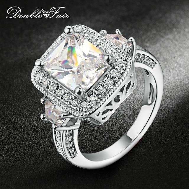 Double Fair Square CZ Stone Engagement Ring Silver/Rose Gold Color Cubic Zircon