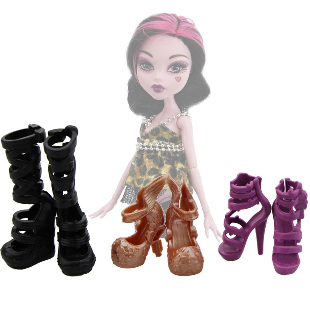 3 Pcs / Lot Fashion High Heels Shoes Party Dating Wear Mixed Style Sandals Black Boots For Monster High Doll Accessories Kid Toy
