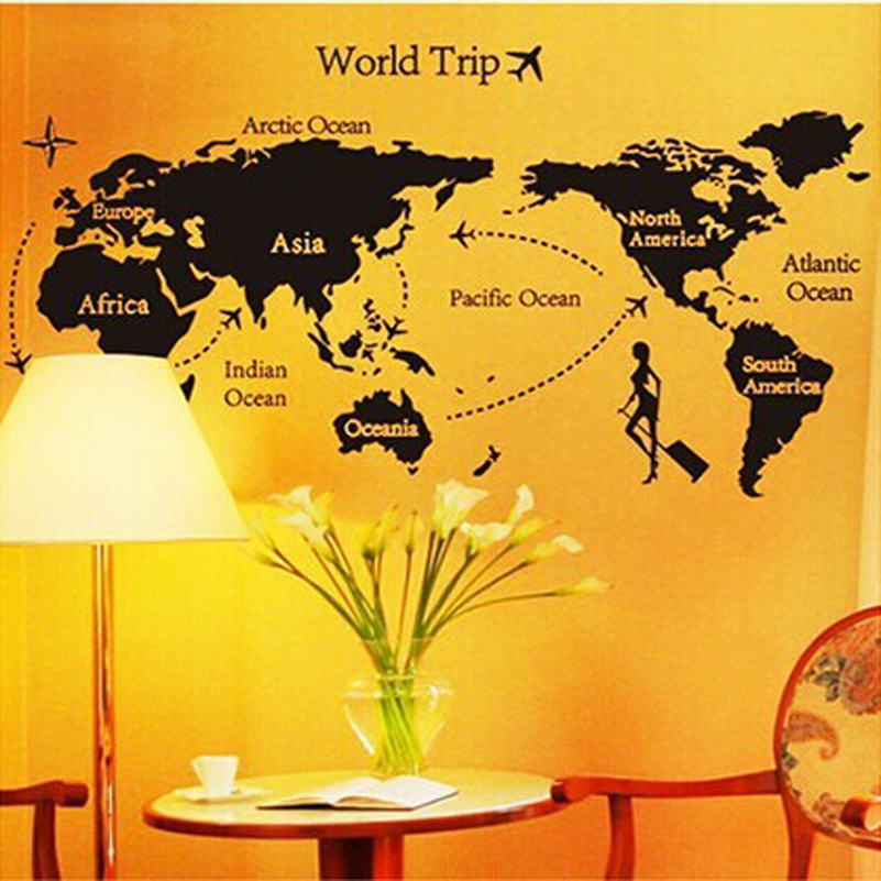 World Map Wall Sticker Office Living Room Decoration Travel Around ...