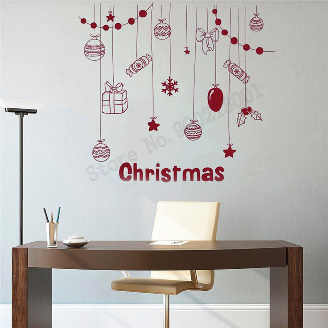Wall Decoration Christmas Vinyl Art Removeable Poster Merry Christmas Mural  Cookies Gifts Decor Home Ornament LY576