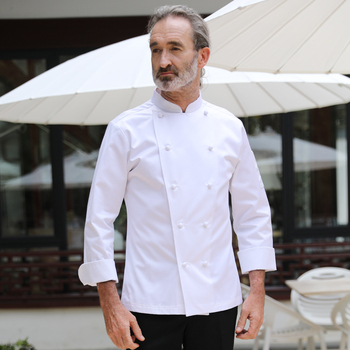 100% long staple cotton chef jacket white French head chef coat classical manual buckle stand collar chef jackets