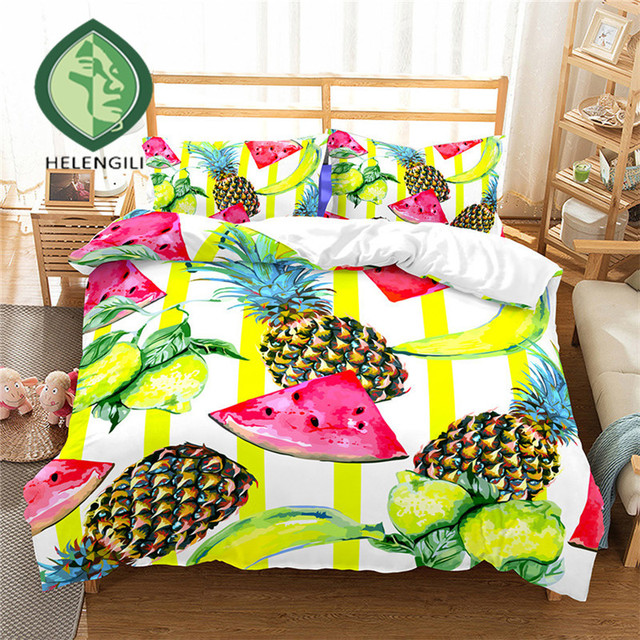 HELENGILI 3D Bedding Set pineapple Print Duvet cover set lifelike bedclothes with pillowcase bed set home Textiles #BL-17