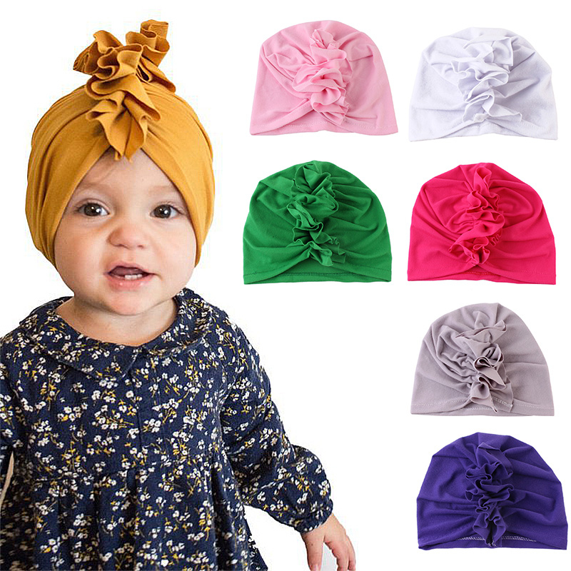 New Designed Cute Baby Hats Cotton Soft Turban Girl Summer Hat India Style Kids Newborn Cap For Baby Girls