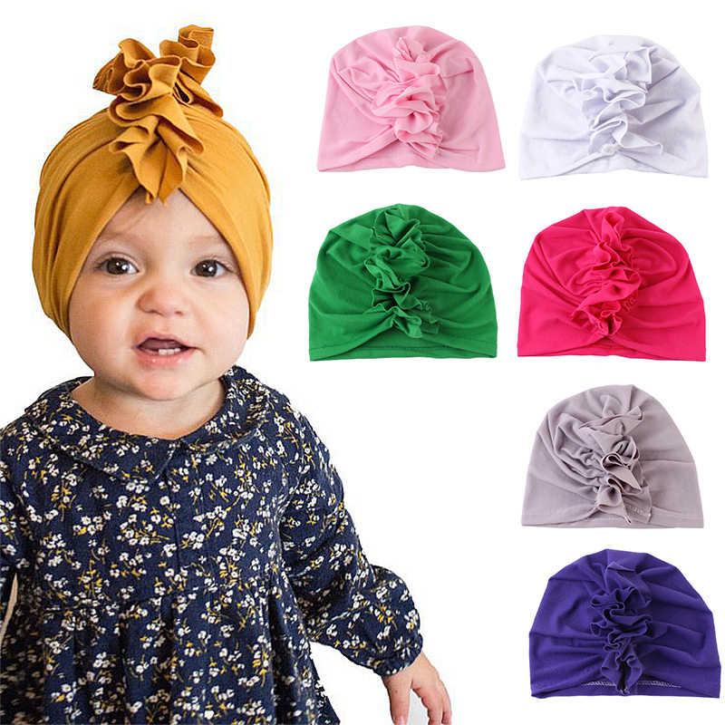 ออกแบบใหม่น่ารักเด็กหมวกผ้าฝ้ายนุ่ม Turban สาวฤดูร้อนหมวกอินเดียสไตล์เด็กหมวกเด็กแรกเกิดสำหรับทารก