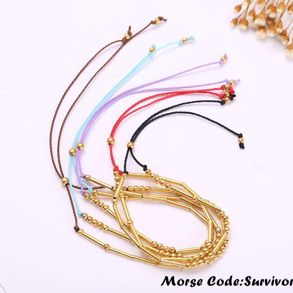 Bracelets & Bangles Dawapara Handmade Morse Code Bracelet Custom Multi-color Personalized Hidden Message Girl Friend Diy Bracelet For Woman Gift Easy To Use