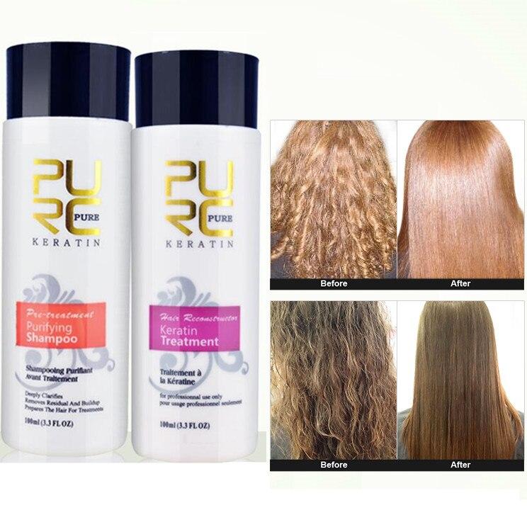 2 stücke PURC Richt 5% Keratin Haar Reparatur Begradigen Schaden Haar Tonic Brasilianische Keratin Behandlung + Reinigung Shampoo N40