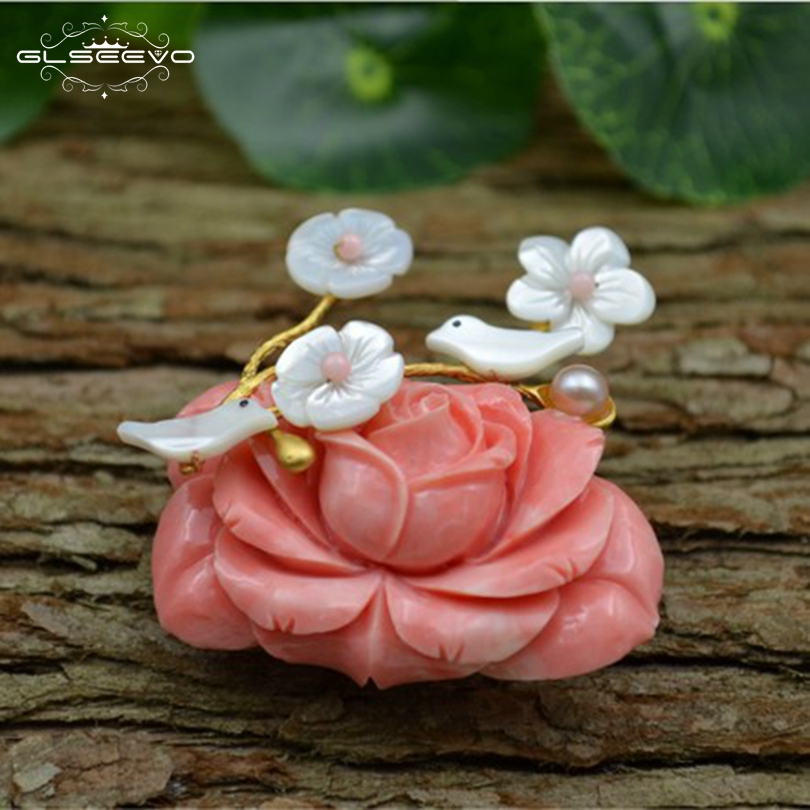 GLSEEVO Natural Mother Of Pearl Coral Flower Brooch Birds Brooches For Women Jewelry Fashion Dual Use