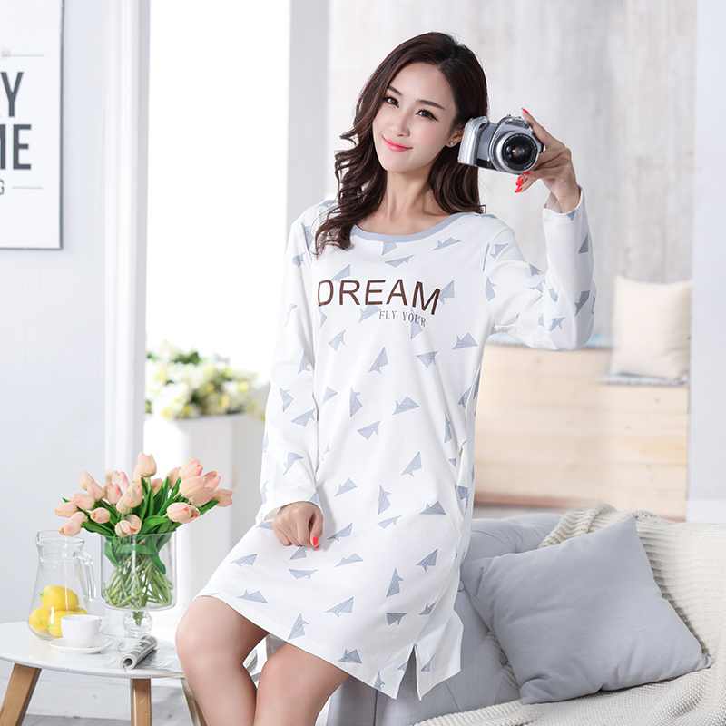New 100% Cotton Women's   Nightgown   Lounge Nightdress Femme Print Sleepwear Casual Girls Nightwear Loose   Nightgowns     Sleepshirts