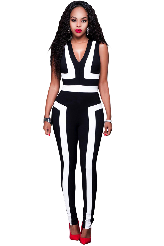 Black-White-Color-Block-V-Neck-Sleeveless-Catsuit-LC64186-2-2