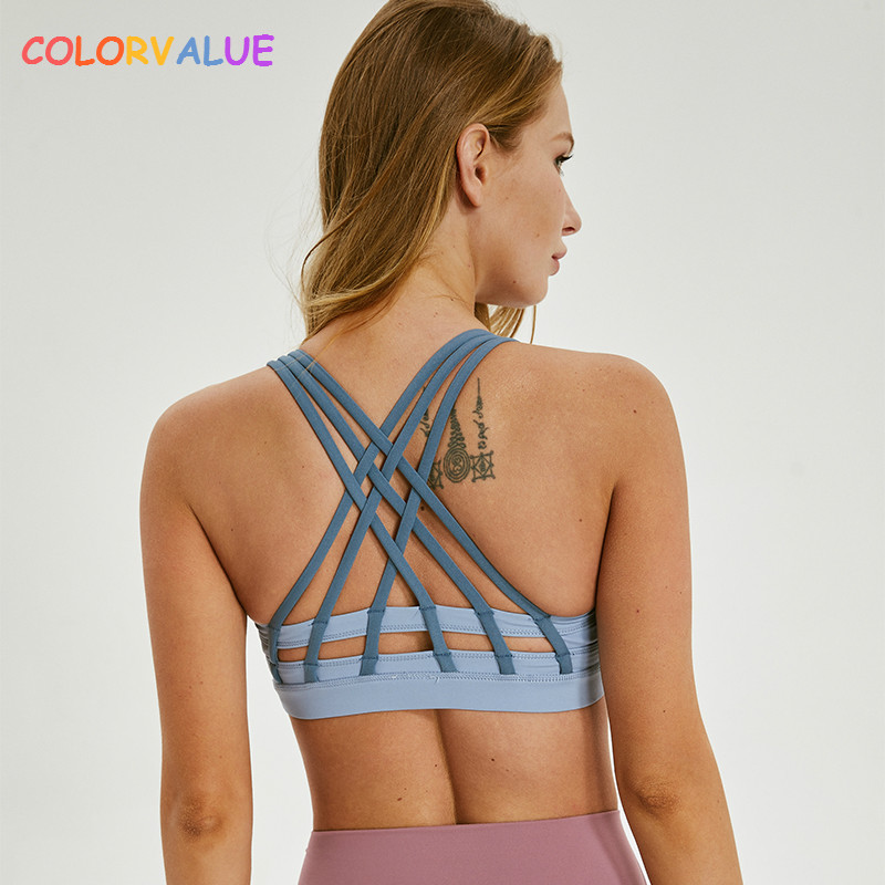 67d3f56308608 Colorvalue Beautiful Back Padded Workout Fitness Sports Bra Women  Crisscross Straps Push Up Gym Yoga Athletic