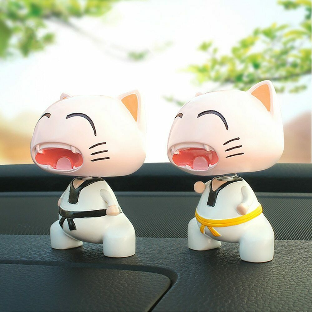 Image 4 - Cute Taekwondo Cat Shaking Head Car Ornaments Lovely Decoration Automobiles Interior Dashboard Nodding Toys Doll Car Accessories-in Ornaments from Automobiles & Motorcycles