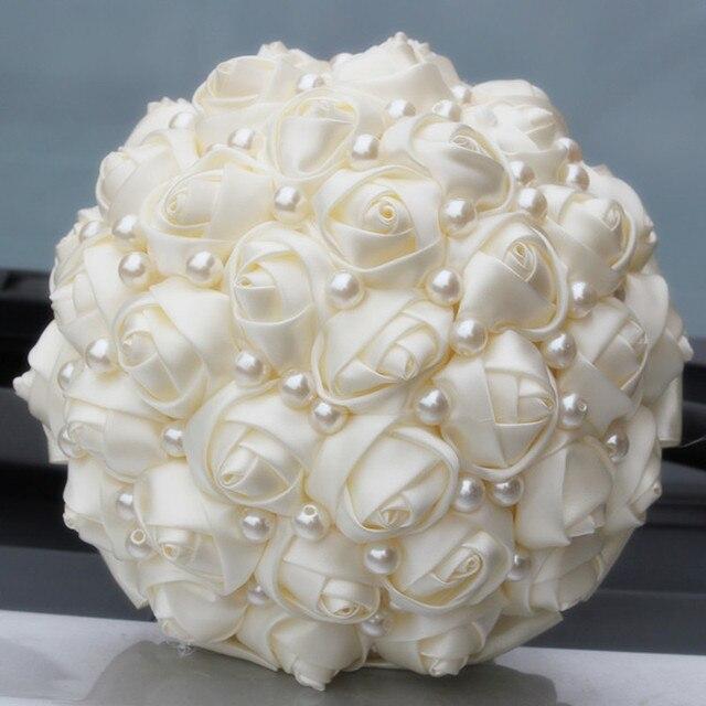 pur couleur ivoire perles de mari e bouquets de mariage fleur artificielle cr me satin rose de. Black Bedroom Furniture Sets. Home Design Ideas