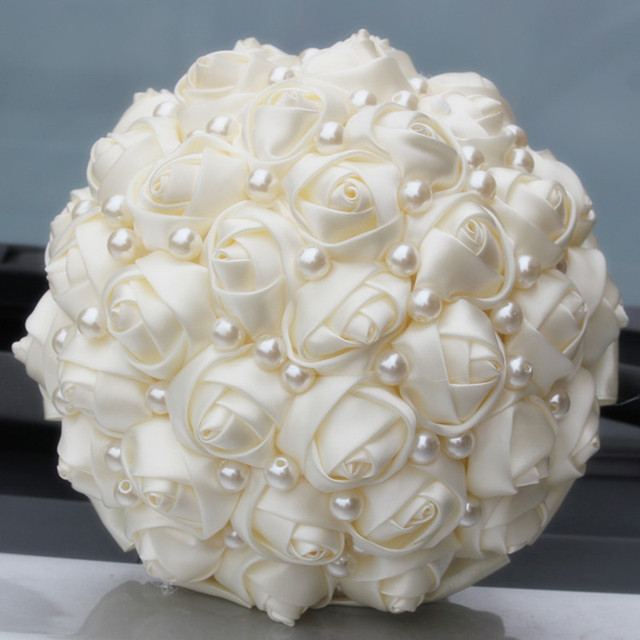 Pure Color Ivory Pearls Bridal Wedding Bouquets Artificial Flower Cream Satin Rose DIY Multi