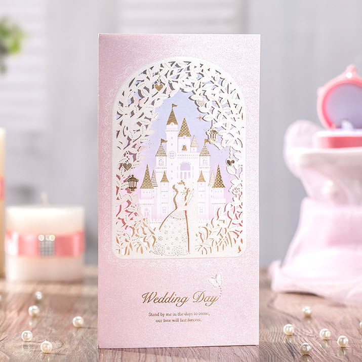CW6073, 50 Pieces, light Pink Love Castle Flowers Wedding Invitations Cards, Wishmade