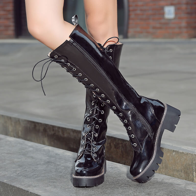Knee High Boots Platform Combat Boots Women Fashion Lace Up Autumn Winter Boots Thick Heel White