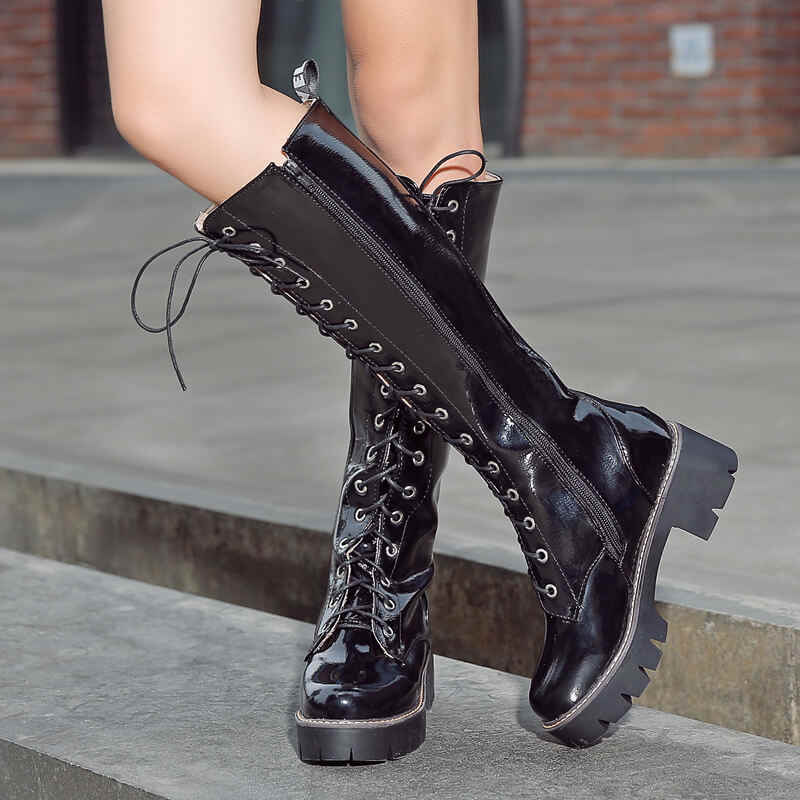 Knee High Boots Platform Combat Boots Women Fashion Lace Up Autumn Winter Boots Thick Heel White Red Black Silver 2019 Big Size
