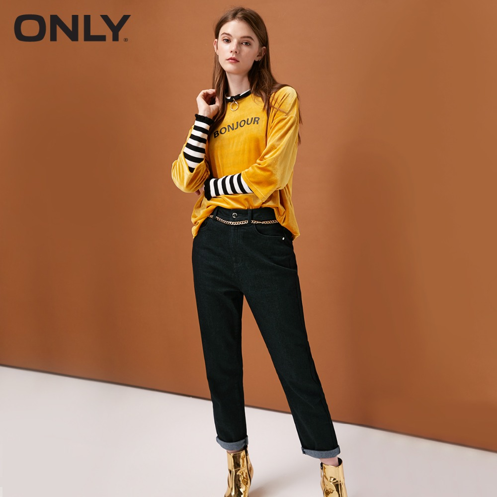 ONLY  Womens' Winter New High Waist Cropped Sanded Jeans Sanding Design Loose And Comfortable|118449502
