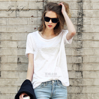 Women Cotton T Shirt Short Sleeve Simple White Tops Female Girl Casual Shirt Loose Long Multi