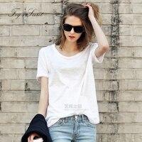 Women Cotton T Shirt Short Sleeve Simple White Tops Female Girl Casual Shirt Loose Long Multi