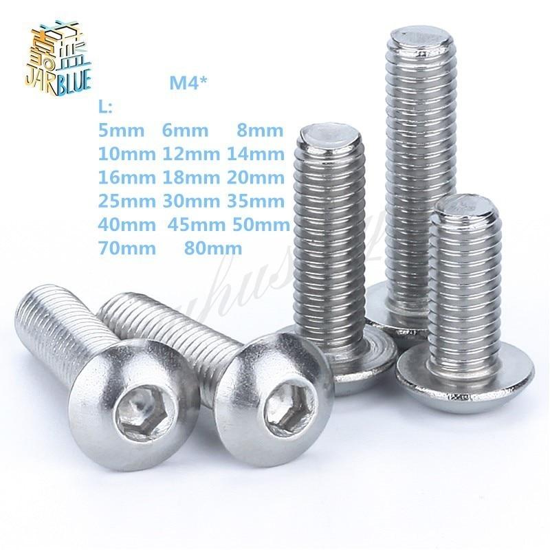 M4 Bolt A2-70 Button Head Socket Screw Bolt SUS304 Stainless Steel M4*(5/6/8/10/12/14/16/18/20/25/30/25~80) mm axk 100pcs gb819 m4 304 stainless steel metric thread flat head cross countersunk head screw m4 6 8 10 12 14 16 18 20 25 80 mm
