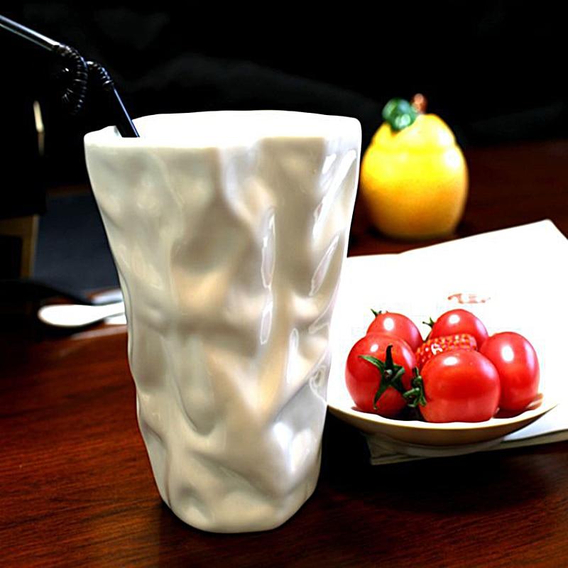 Creative Fold Style White Color Ceramic Morning Mug for Coffee Tea Milk Beverage Good for Unique Gift 500ml SH269-119