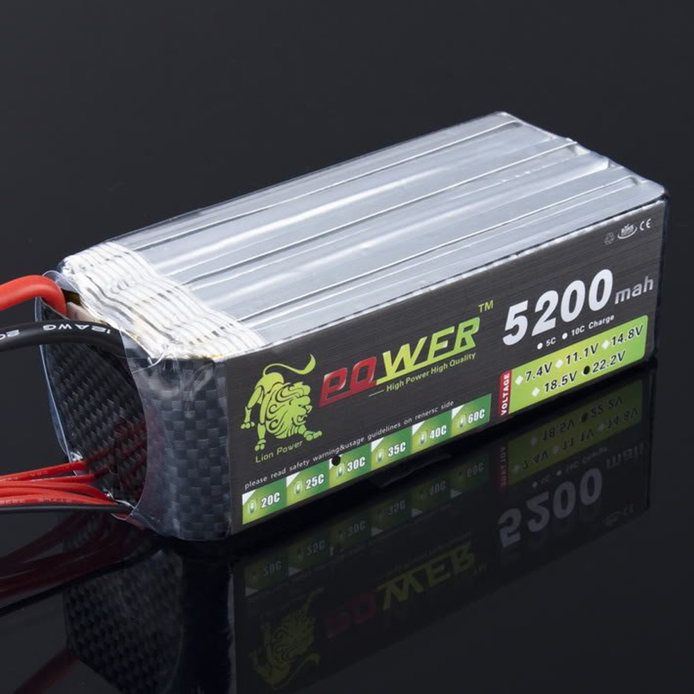 1pcs Original Lion Power Lipo Battery 22.2v 5200mah 30C-40C 6S for RC Car Airplane Helicopter 1pcs lion power lipo battery 11 1v 1200mah 25c max 40c t plug for rc car airplane helicopter